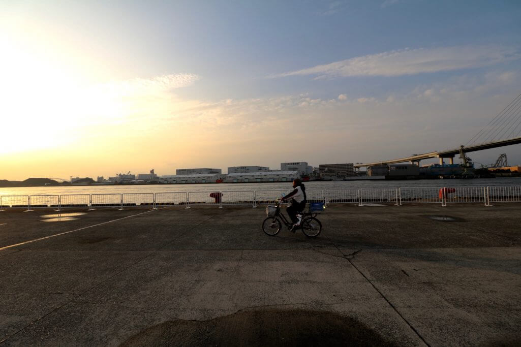 Reisebericht Osaka: Fährhafen Tempozan bei Sonnenuntergang